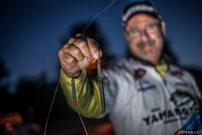 Sitting at 19th in the AOY points, Larry Nixon is in great shape to make the Forrest Wood Cup in his home state. This week, Nixon primarily used a heavy Carolina rig with a green pumpkin 5-inch Yamamoto Senko. Nixon says he also caught fish long-lining a 6th Sense Custom Lure Co. Crush 500DD and by Texas-rigging a 7-inch Yamamoto Kut Tail Worm.