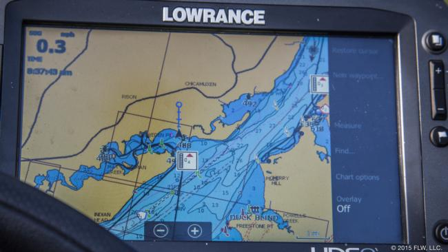 Avena's Lowrance is key to running the tide properly. With tide estimates displayed at a variety of points up and down the river, he can use his experience to make sure he's nearly always fishing the tide he wants to key on.