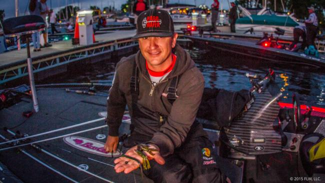 6. Gerald Spohrer targeted smallmouths with a 3/4-ounce Texas-rigged tube and largemouths with a bruiser-colored Missile Jigs Ike's Mini Flip Jig with a green pumpkin Missile Baits Baby D Bomb as a trailer.