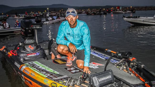 Tour pro Zack Birge readies his tackle for the start of day one on Dardanelle.