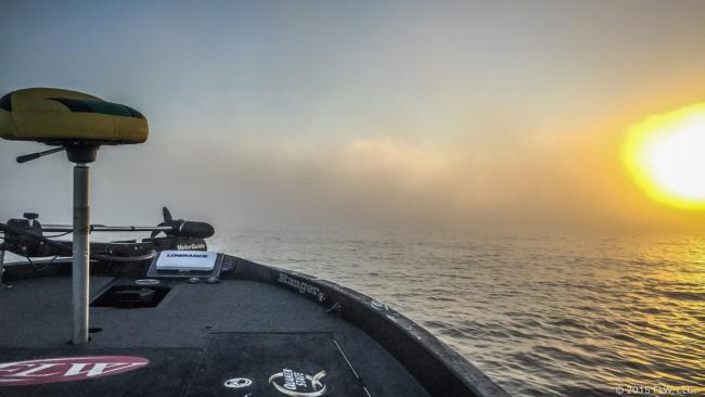 The fog in the Tennessee River on day to of the Rayovac FLW Series Championship.