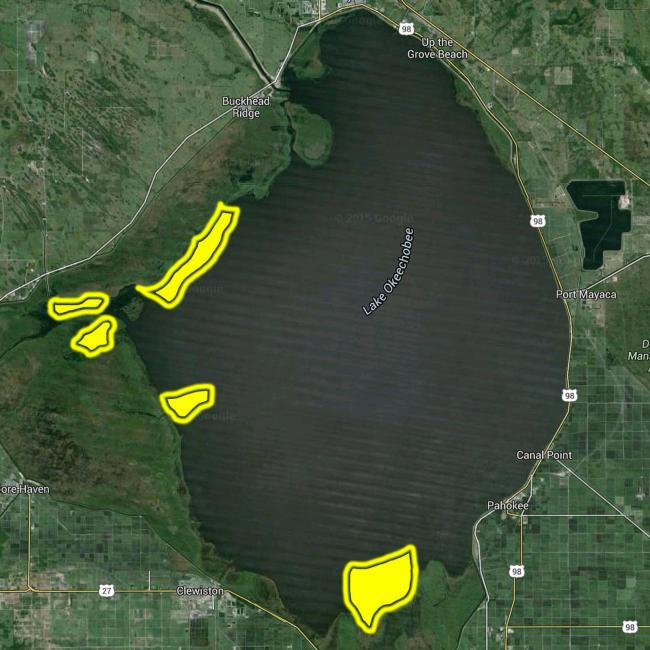 Key areas on Lake Okeechobee