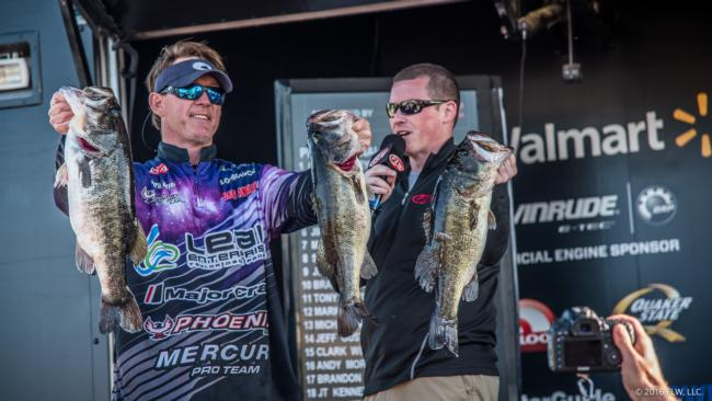 Charlie Weyer more than doubled his day-one weight with a 23-2 stringer on Friday. He'll head out Saturday in third place.