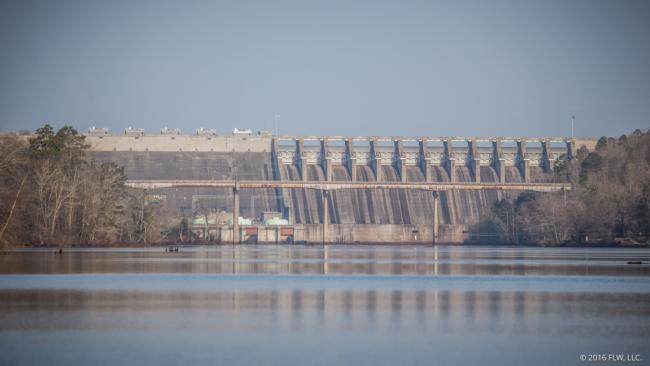 Hartwell Dam marks the upstream boundary for the fish-off on Russell.