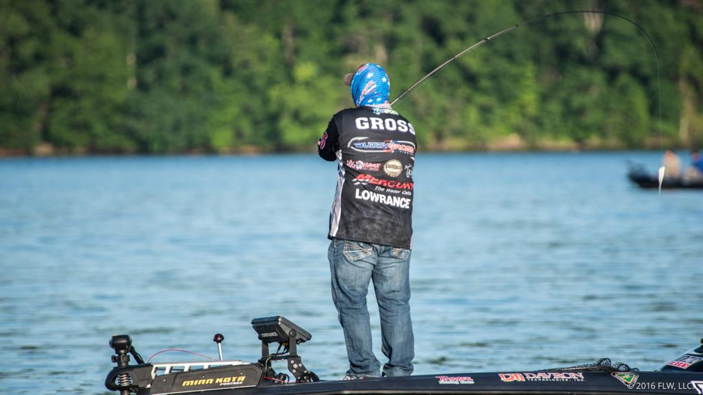 Gross leads wire to wire wins walmart flw tour on for Fishing wire walmart